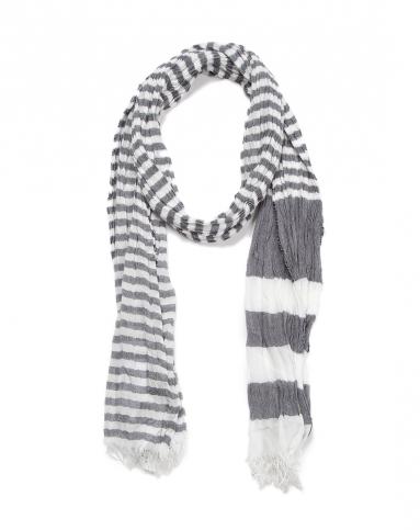 男款灰白条纹围巾