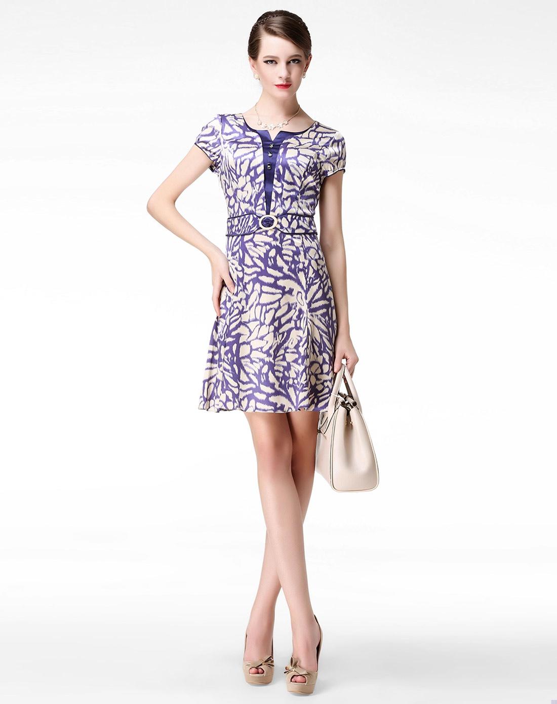 蓝/米色花纹气质短袖连衣裙