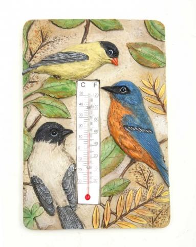 > 手绘立体雕刻树脂温度计/墙挂-鸟