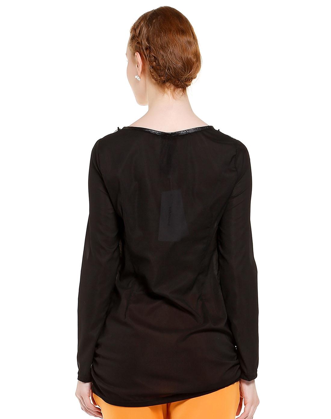 女士黑色欧式复古弹力收边长袖上衣