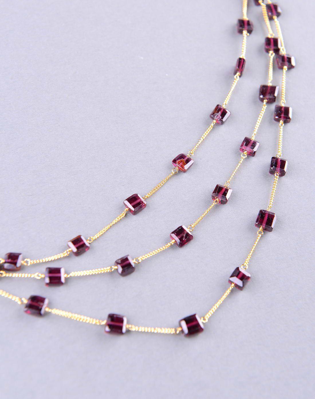 天然石榴石长方形多串编织项链