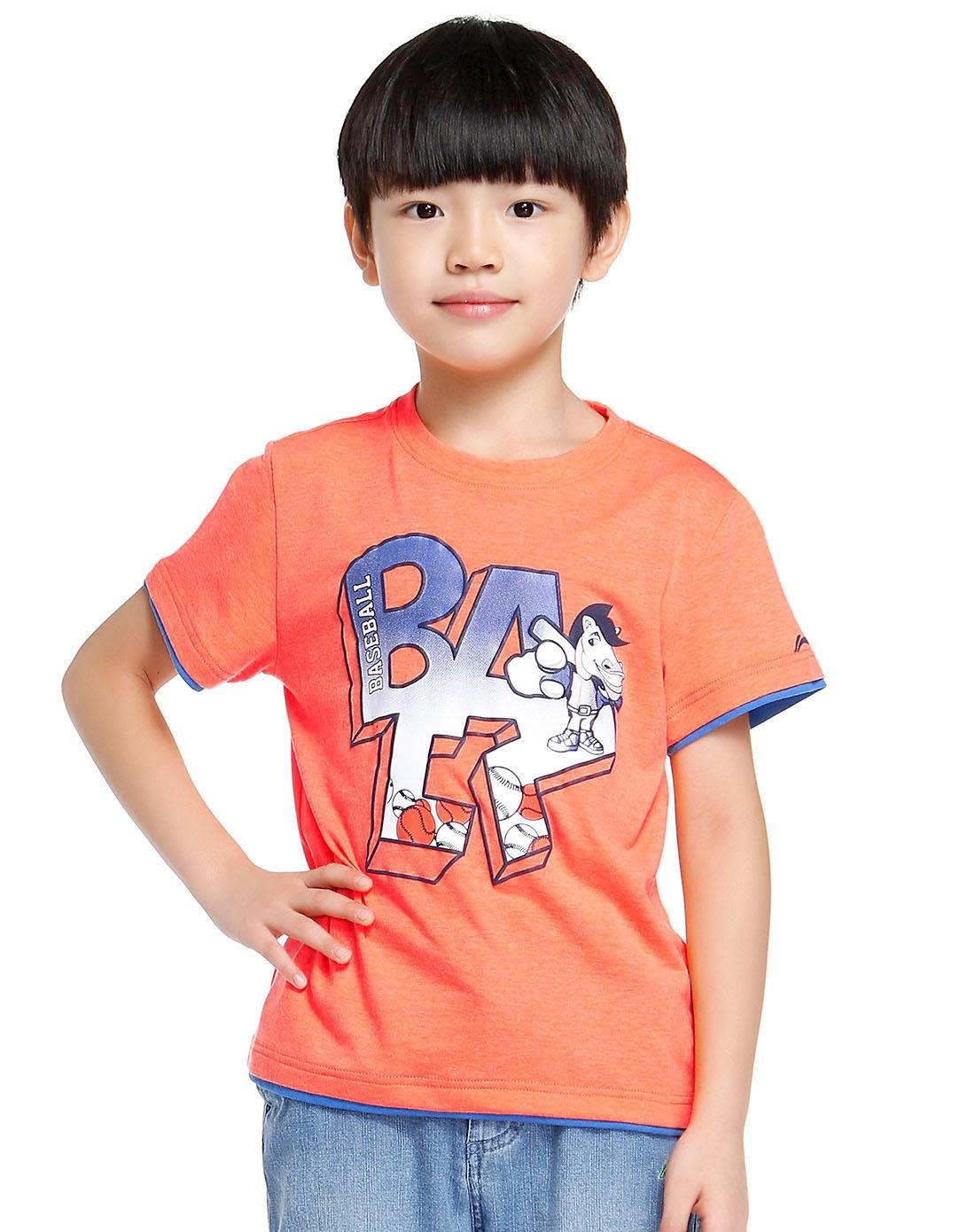 男童可爱图案荧光桔色短袖t恤