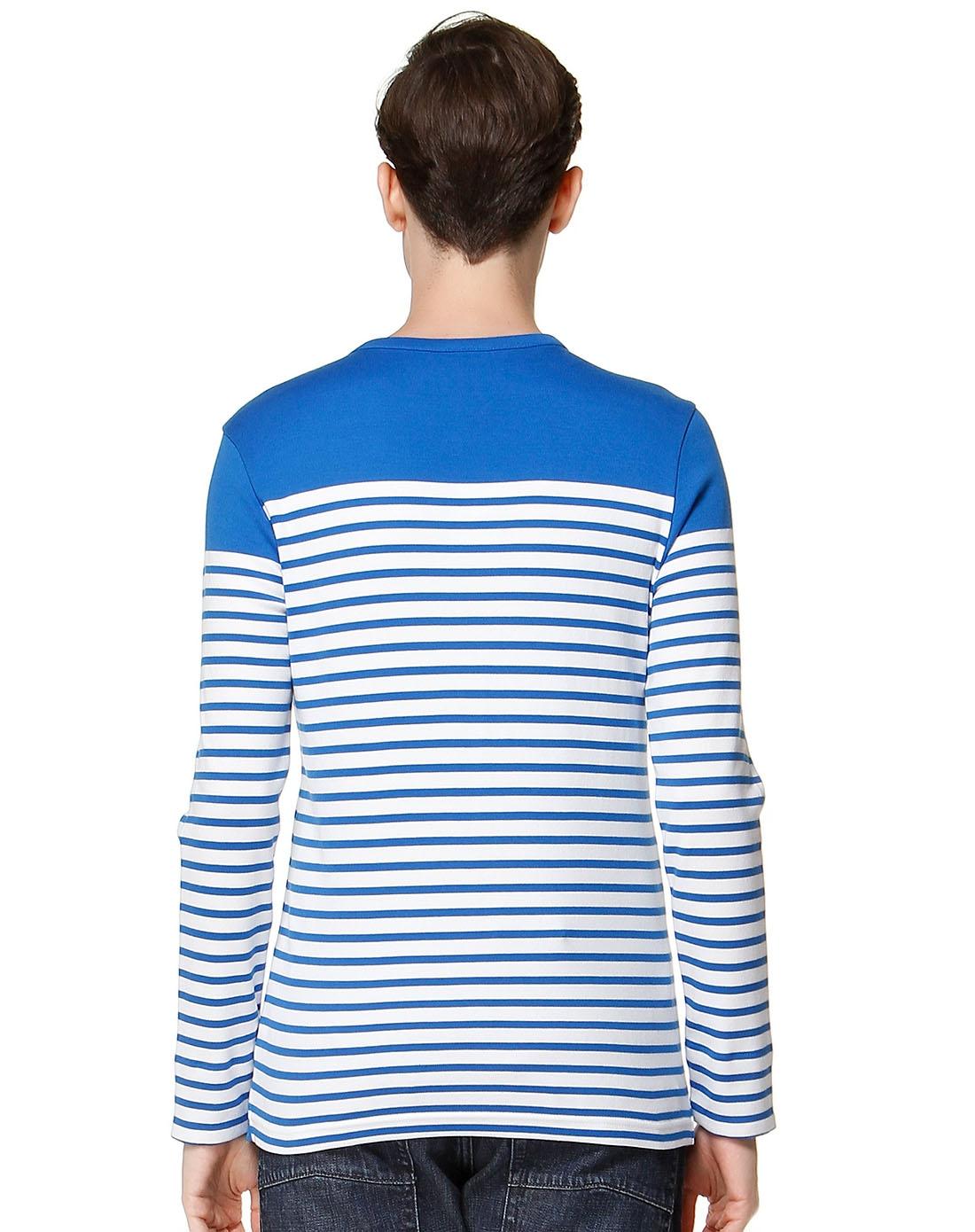 条纹蓝白色长袖t恤