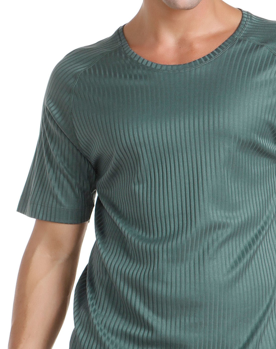 aimer men 墨绿色条纹圆领短袖t恤
