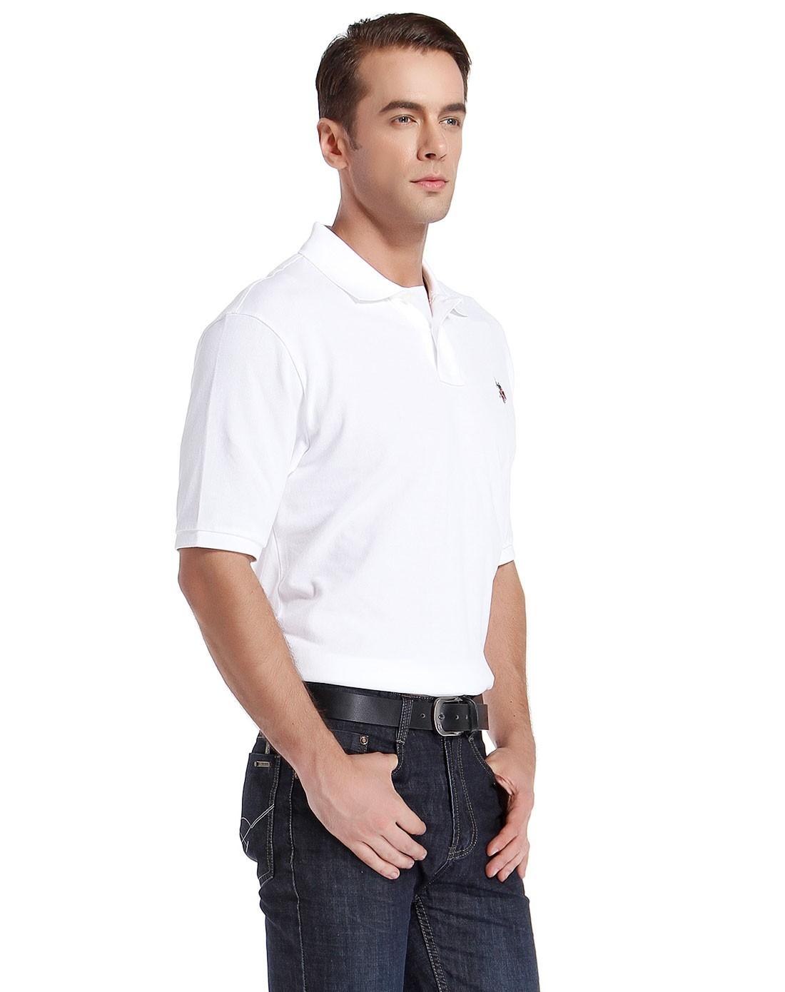 白色简约商务短袖polo衫