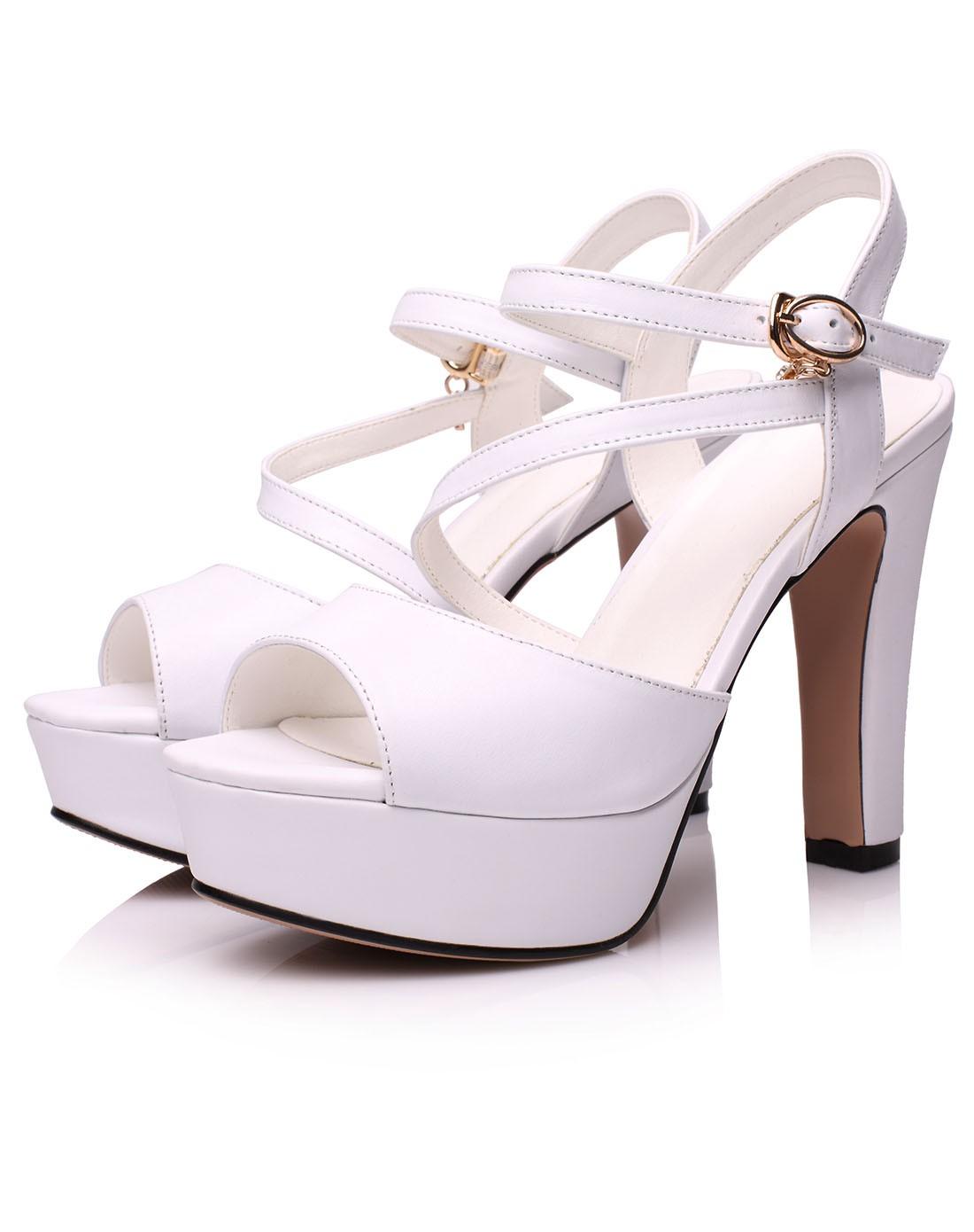 14年新款女白色高跟真皮时尚凉鞋