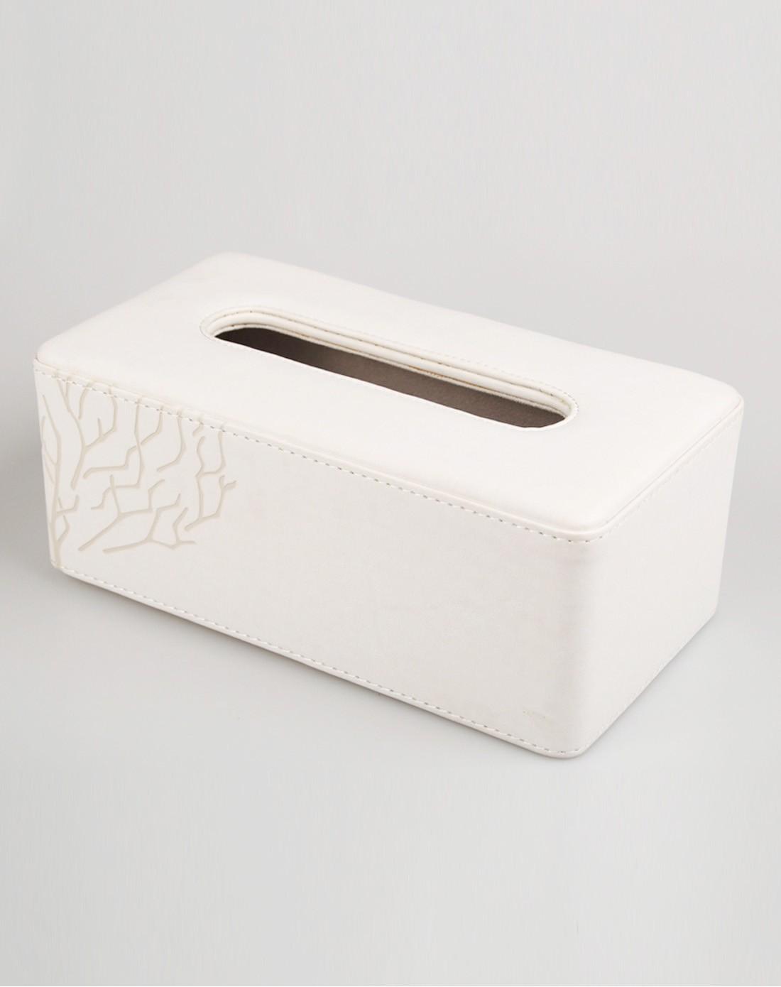 变色pu长纸巾盒(白色)图片