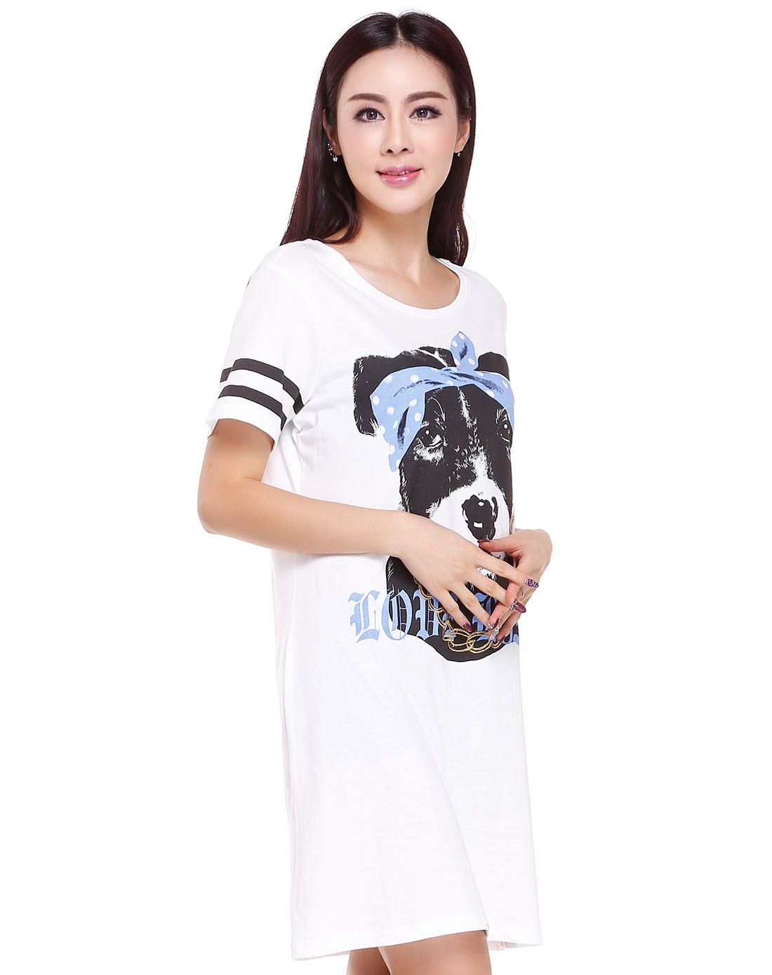 可爱小狗印花白色短袖连衣裙
