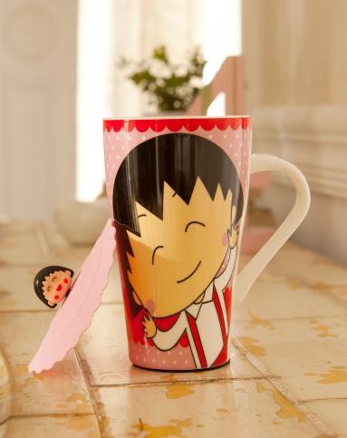 可爱卡通彩绘陶瓷马克杯-蝴蝶结樱桃小丸子