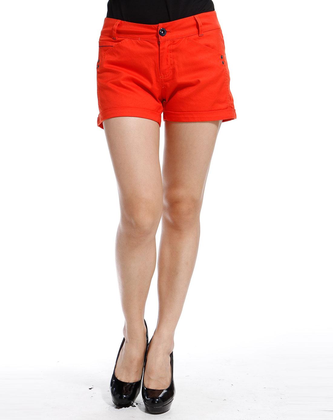 ppt橘红色休闲短裤pde1kg0023r50