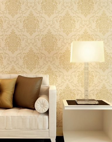 米素墙纸专场米黄欧式尊贵无纺布墙纸mj339412