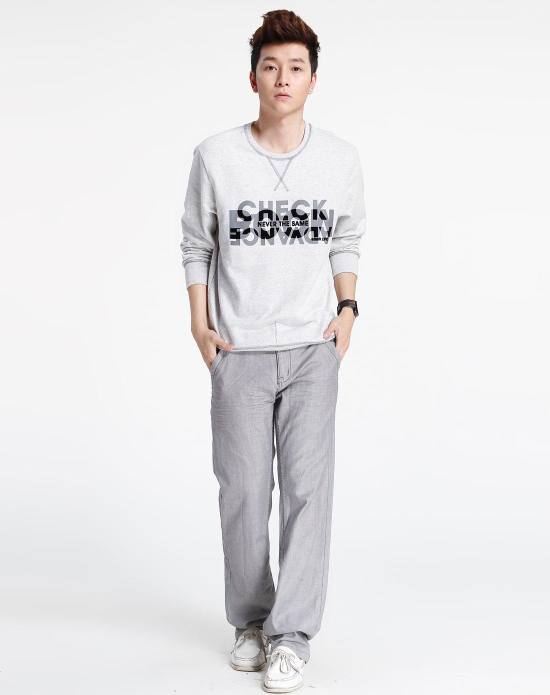 森马-男装-灰色时尚长袖t恤图片