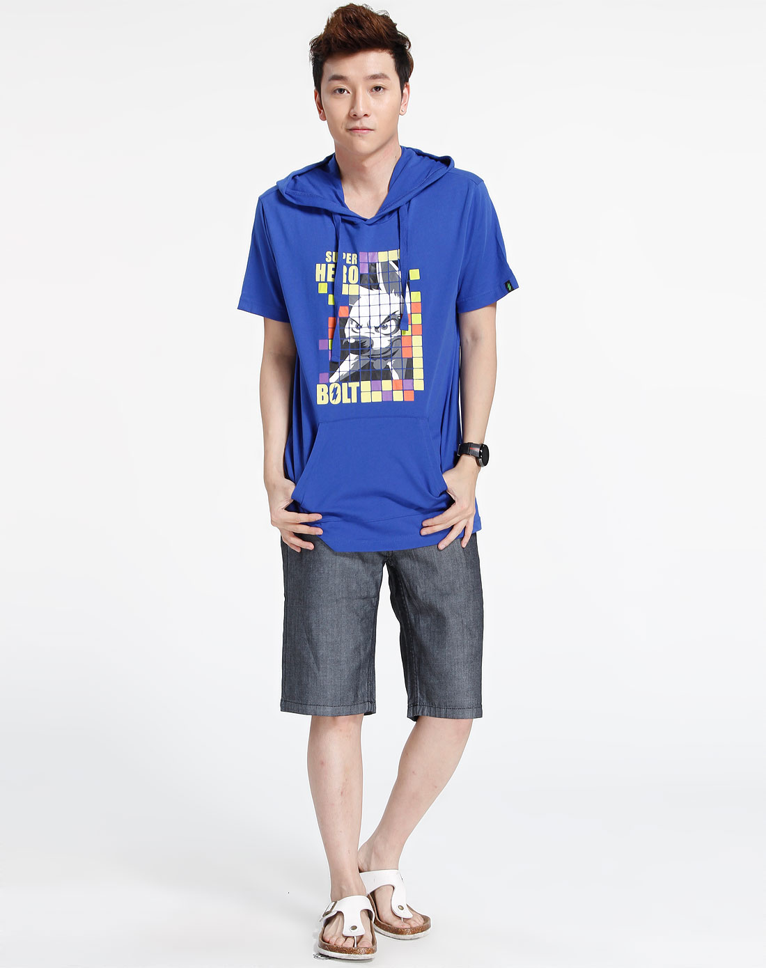 森马-男装-宝蓝色时尚连帽短袖t恤图片
