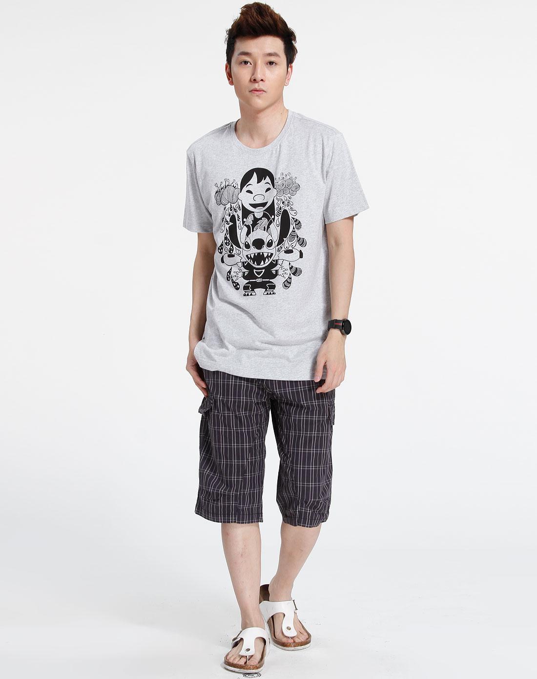 森马-男装灰色时尚短袖t恤002151027-019图片