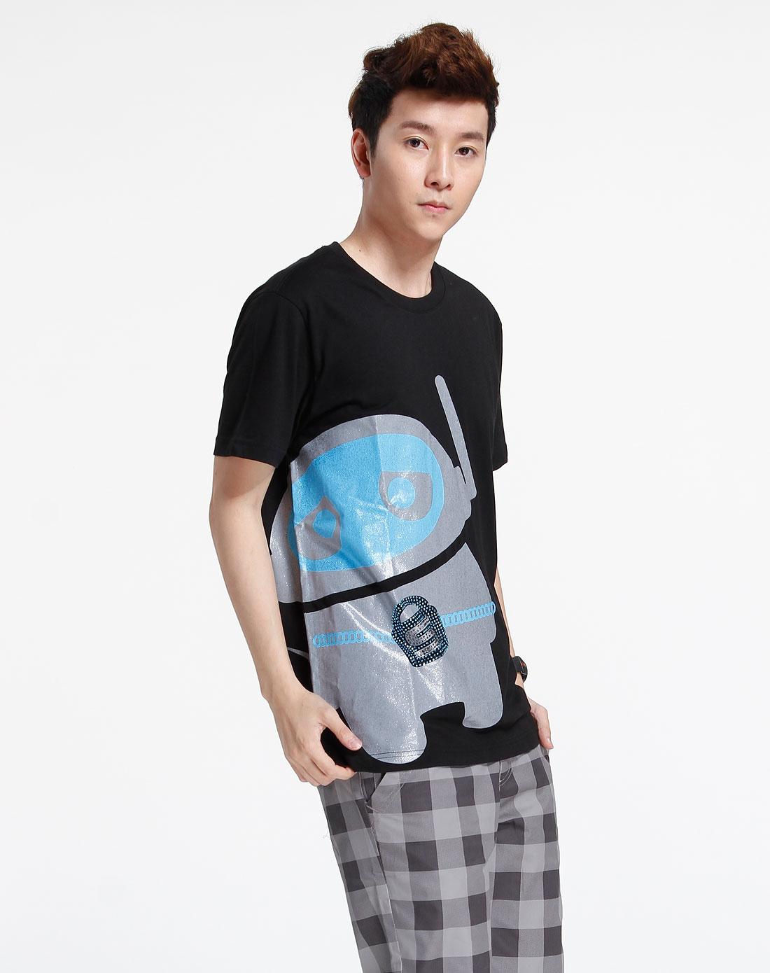 森马-男装-黑色印图短袖t恤图片