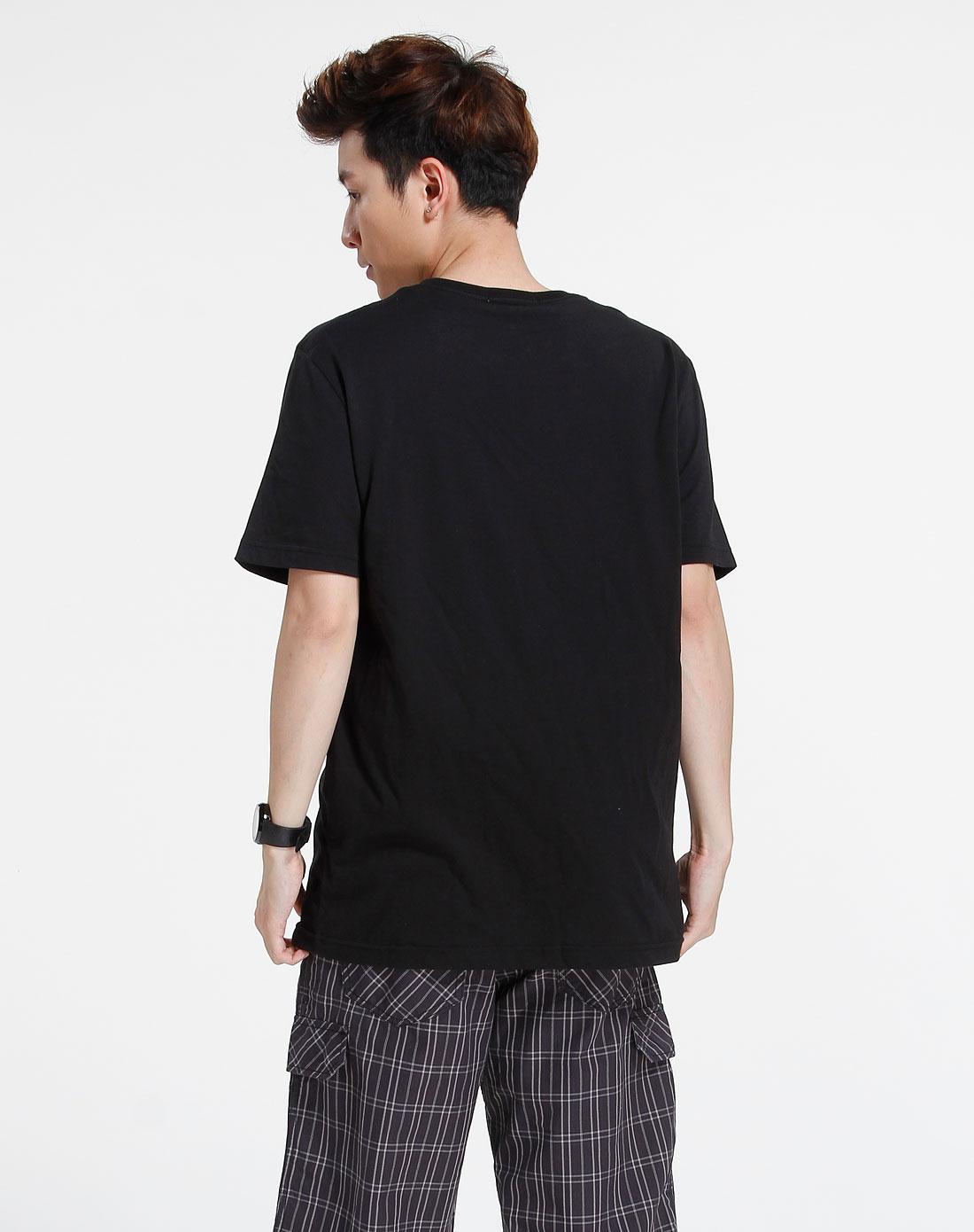 森马-男装黑色时尚个性短袖t恤002151088-900图片