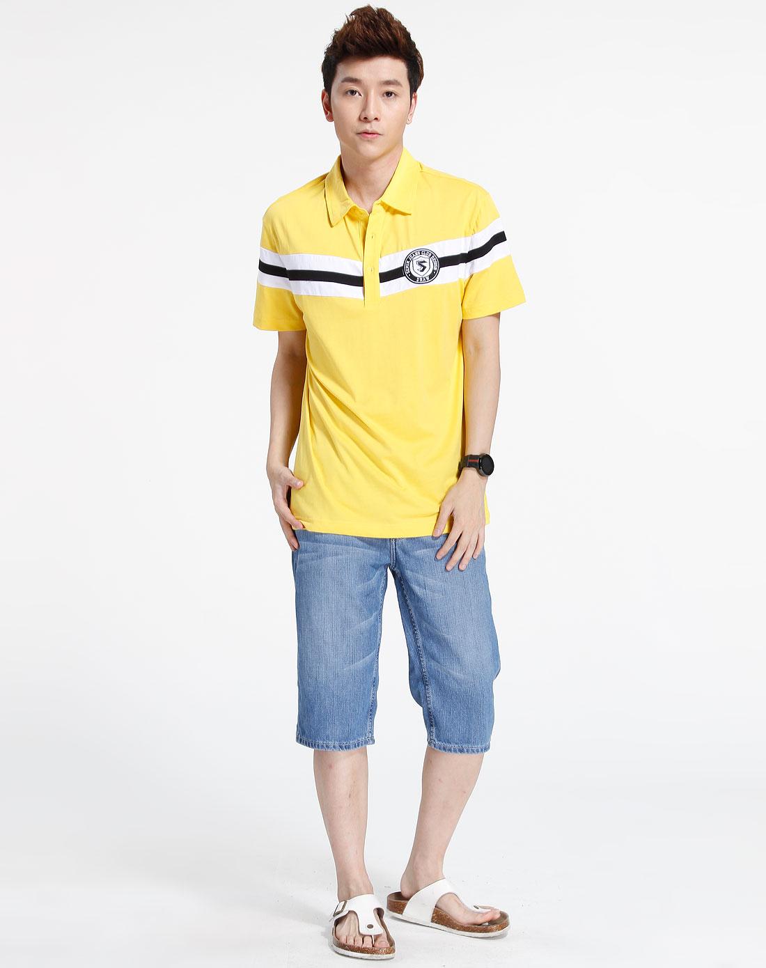 森马-男装黄色时尚翻领短袖t恤002151106-360图片
