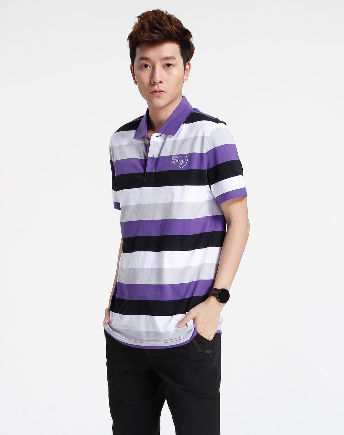 森马-男装-紫/灰色短袖t恤图片