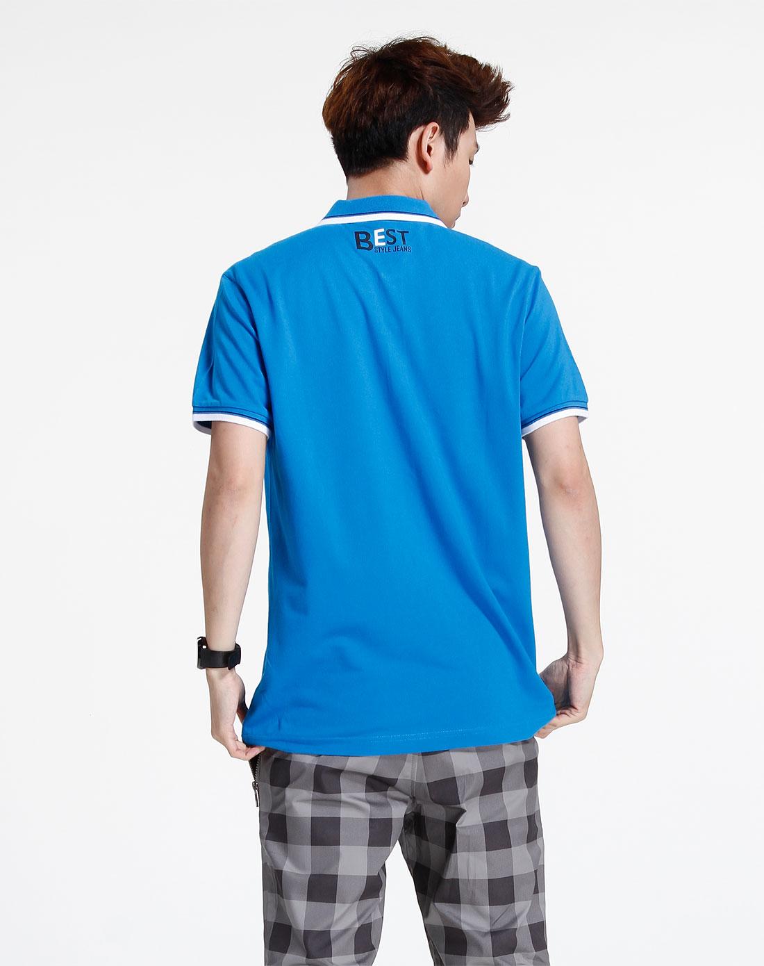 森马-男装-蓝色休闲短袖t恤图片