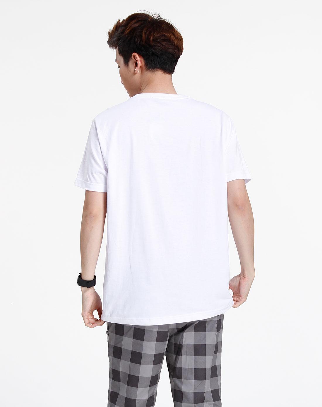 森马-男装白色时尚短袖t恤002151140-100图片