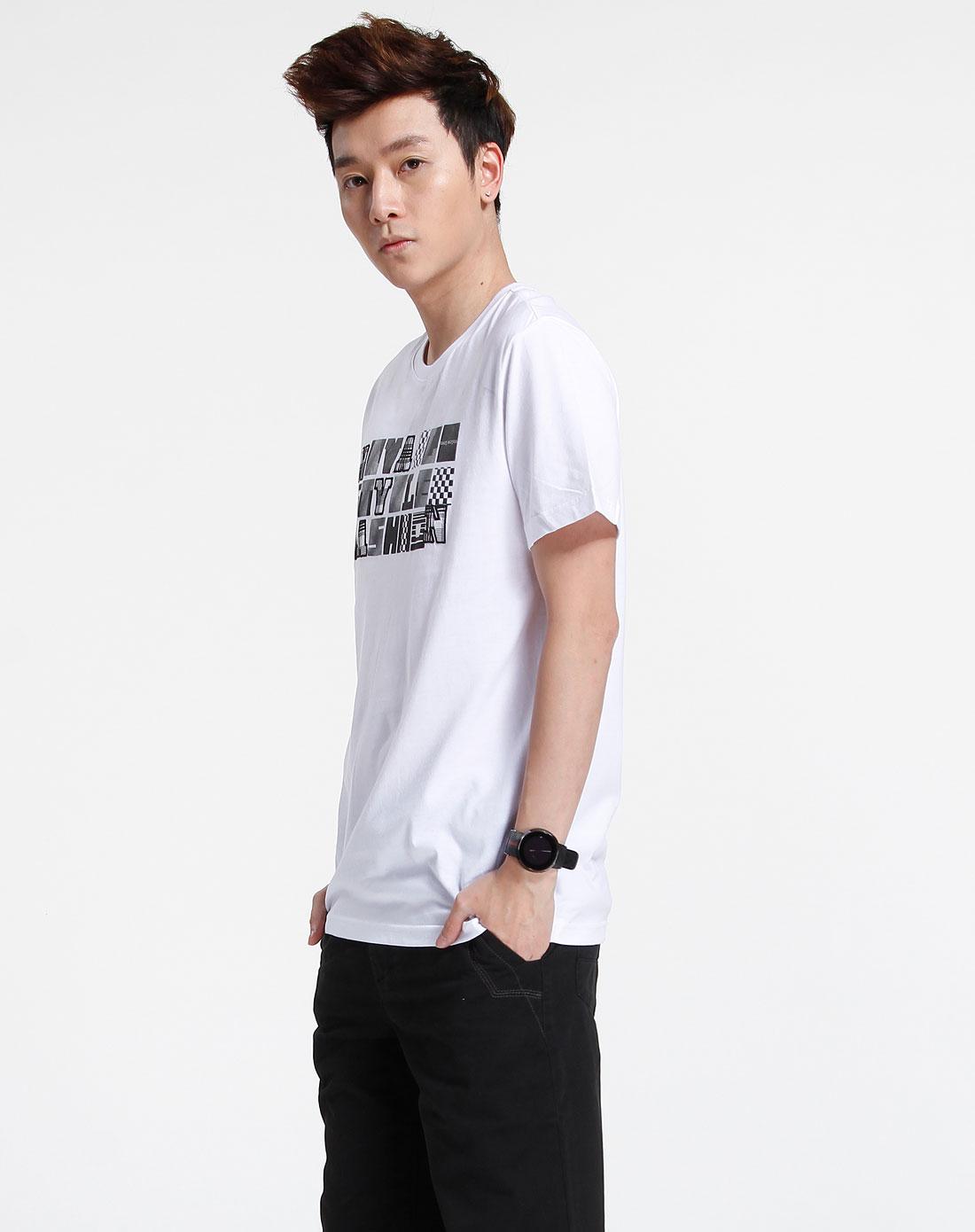 森马-男装白色休闲印花短袖t恤002151519-100图片