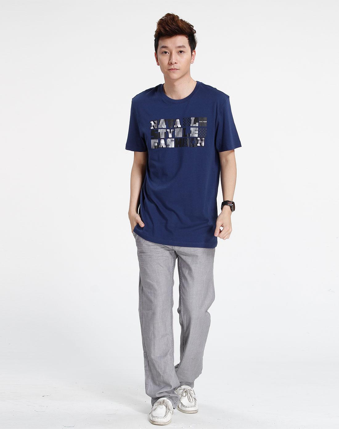 森马男装专场-藏青色休闲印花短袖t恤图片