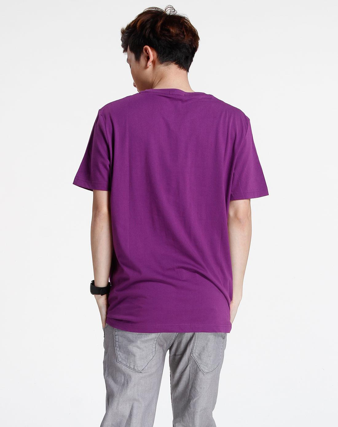 森马-男装紫色休闲印花短袖t恤002151541-722图片