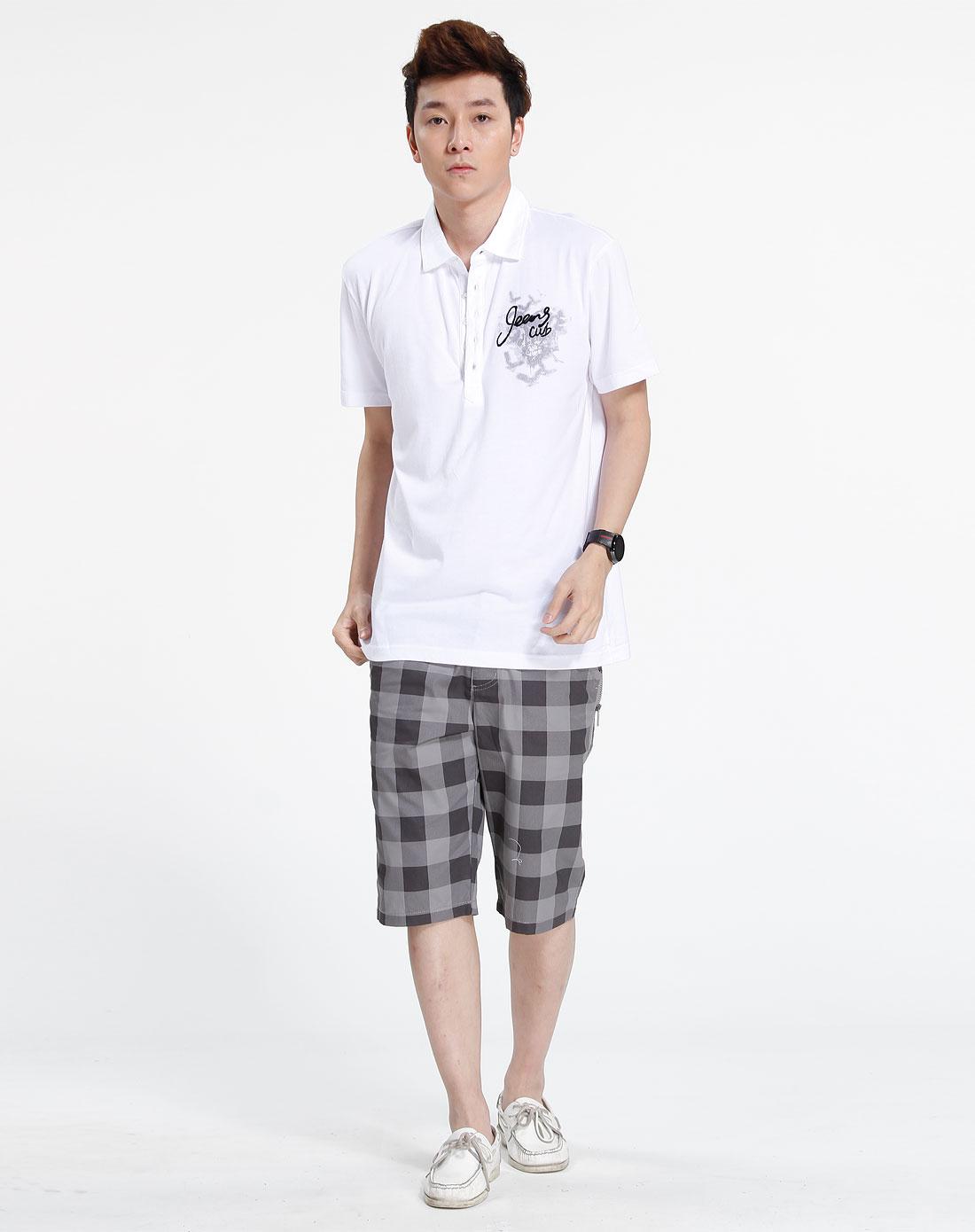 森马男装专场-白色休闲短袖t恤图片