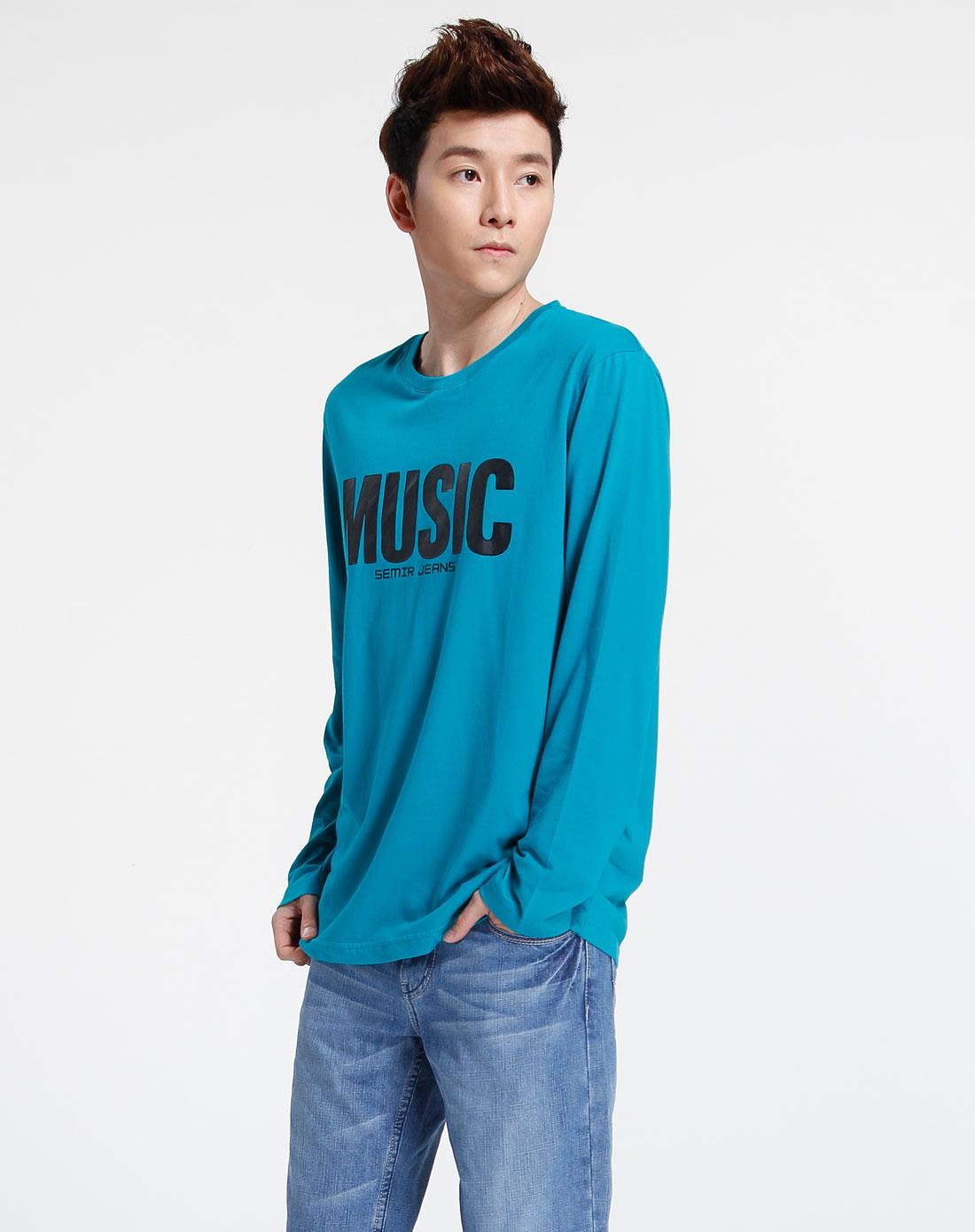 森马-男装湖水蓝时尚印字母长袖t恤003141012-442图片