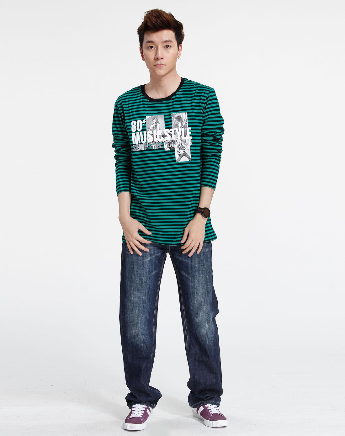 森马-男装-绿色时尚长袖t恤图片