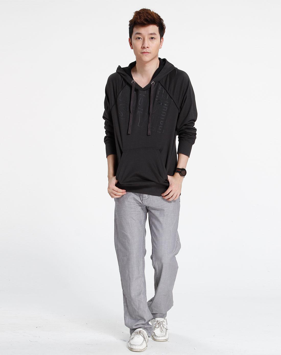 森马-男装黑色字母连帽长袖卫衣003141517-220图片