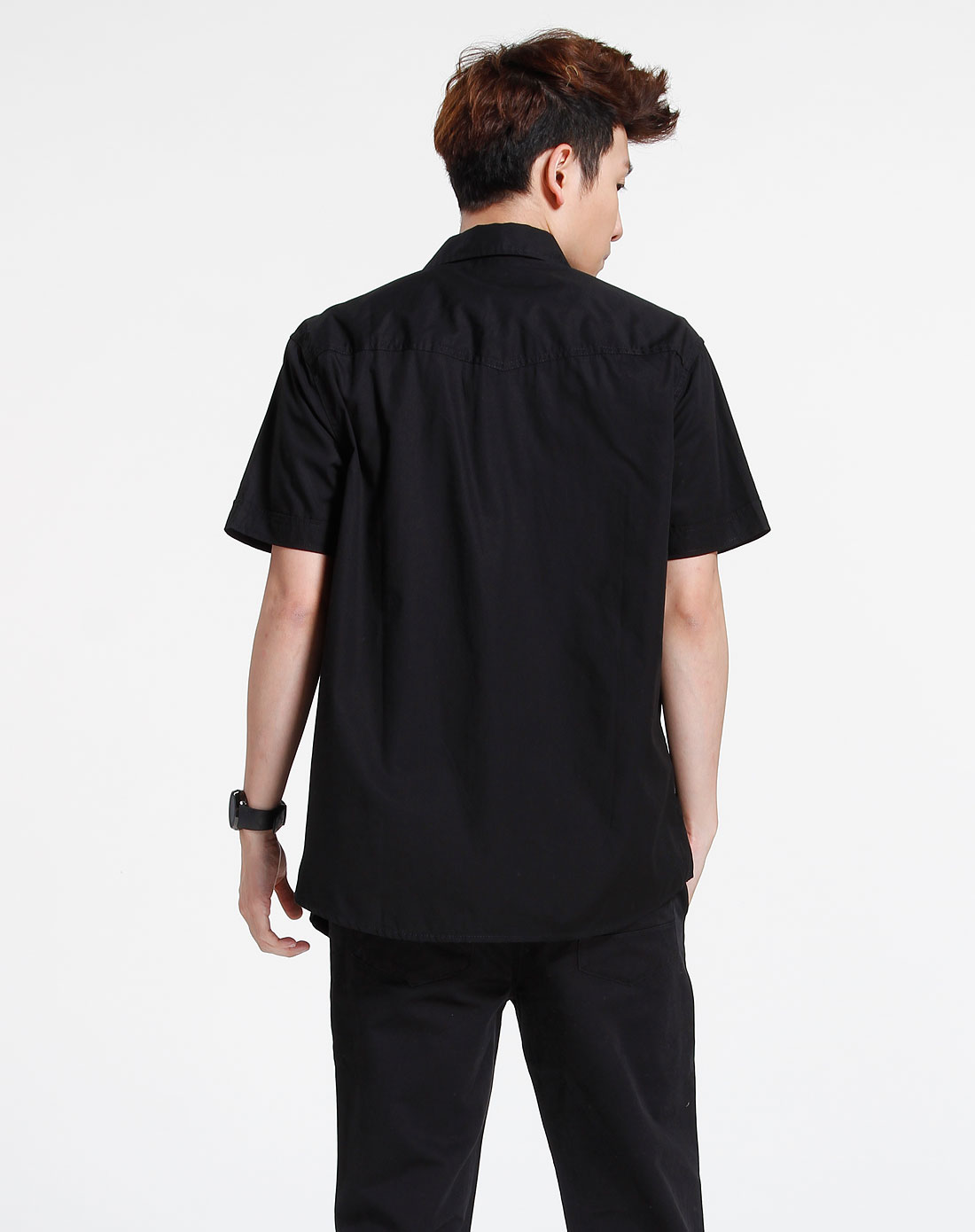 森马-男装-黑色休闲短袖衬衫图片