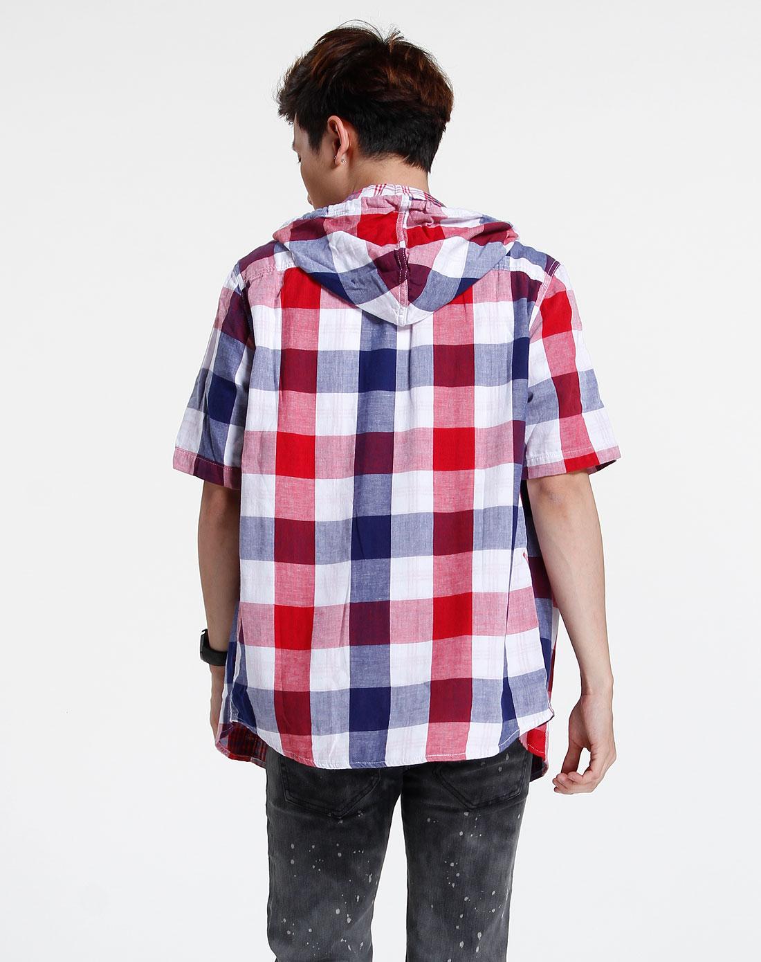 森马-男装蓝/红色短袖休闲衬衫082151013-060图片