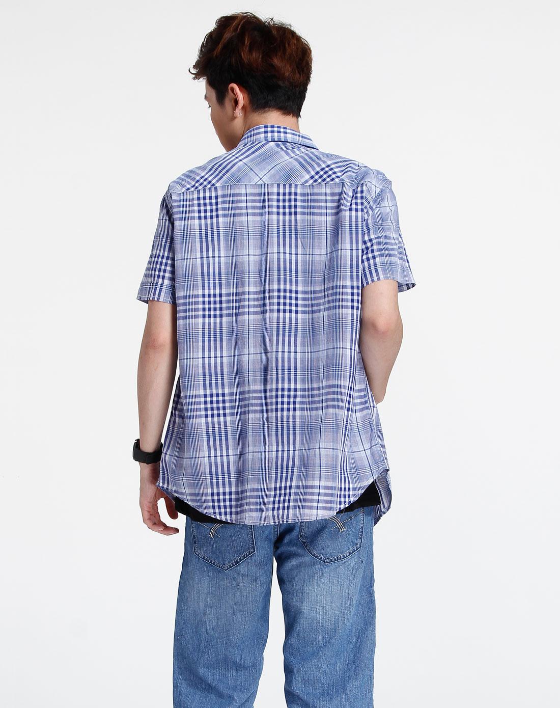 森马-男装-蓝色格子短袖休闲衬衫图片