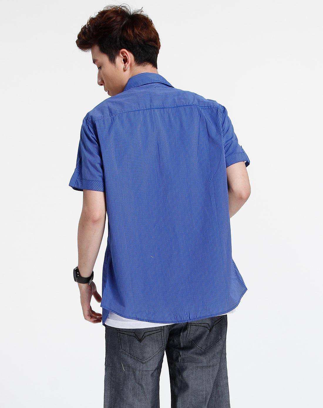 森马-男装-蓝色时尚条纹短袖衬衫图片