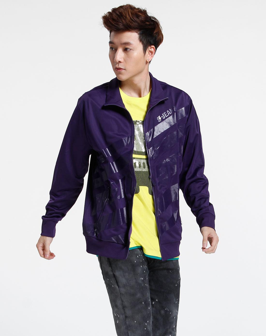 森马-男装-紫色长袖时尚外套图片