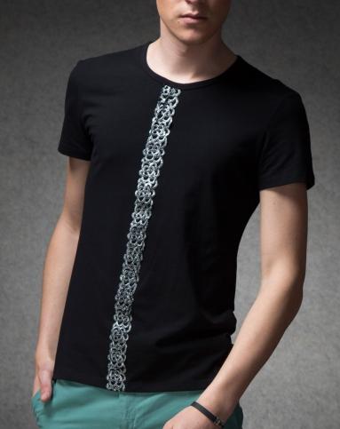 男士黑色亮丝花边潮短袖t恤