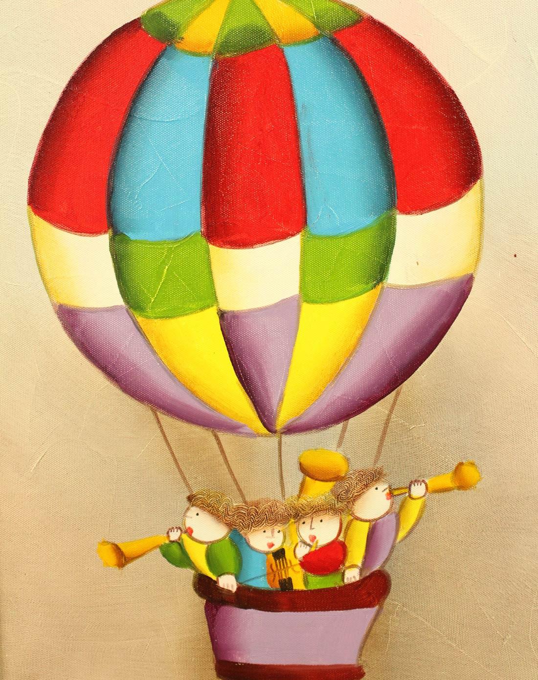 纯手绘儿童房油画热气球油画yh-1010