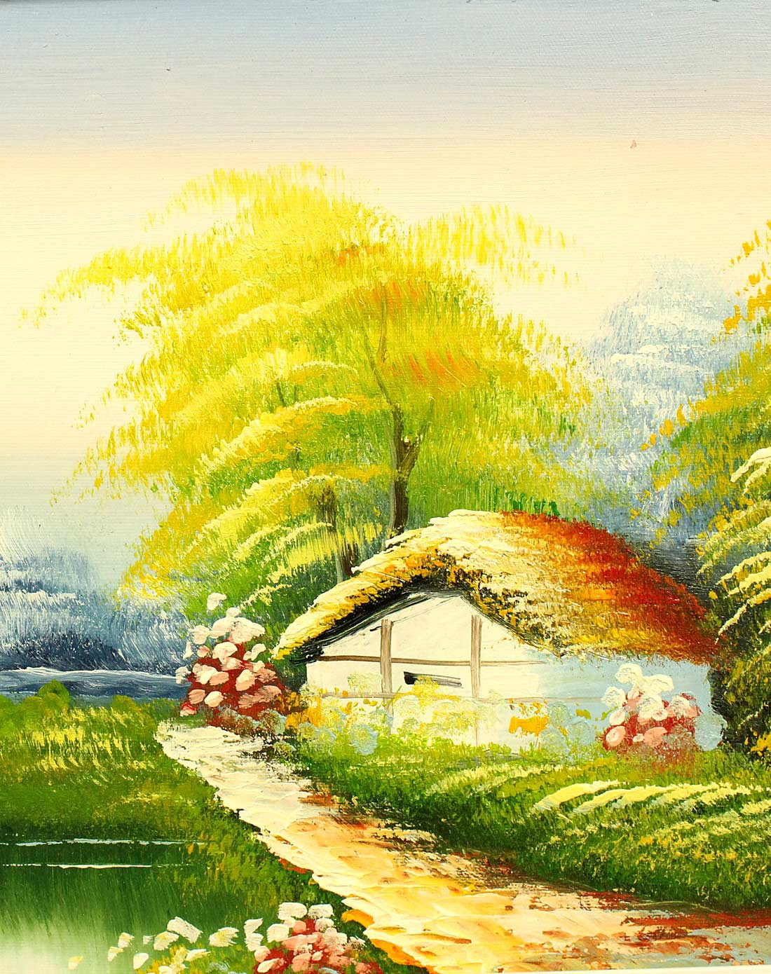 纯手绘风景油画林中小屋yh-1013