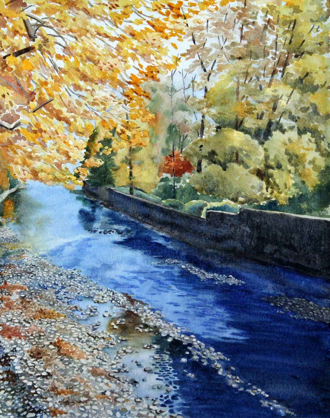 著名旅行家sofia费志群水彩画艺术收藏品画作原作《彩色小溪》50.