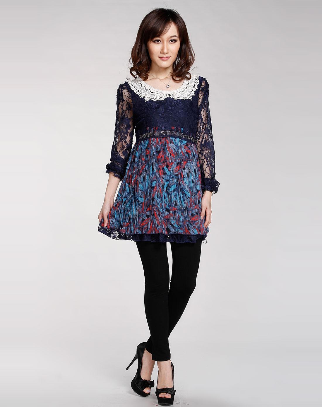蓝色花边娃娃领可爱长袖连衣裙