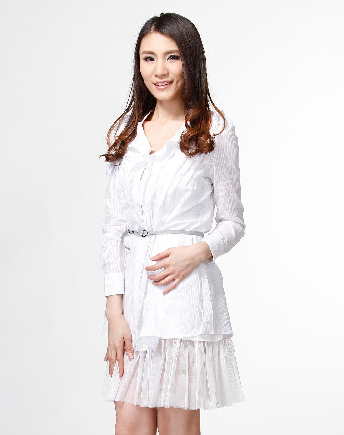 白色时尚长袖衬衫连衣裙图片