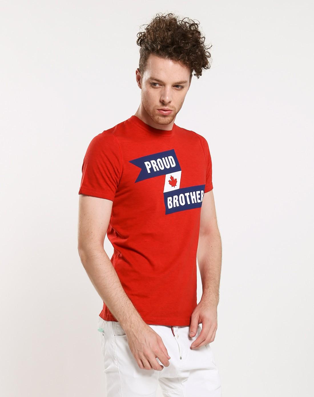 男款红色简约图案短袖t恤