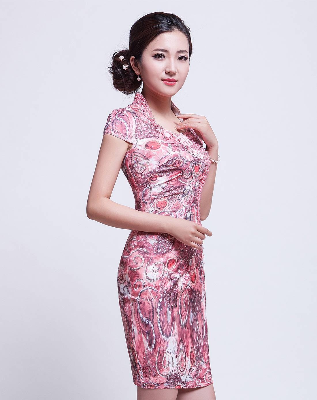 旗袍裙_斓星 提花棉旗袍裙