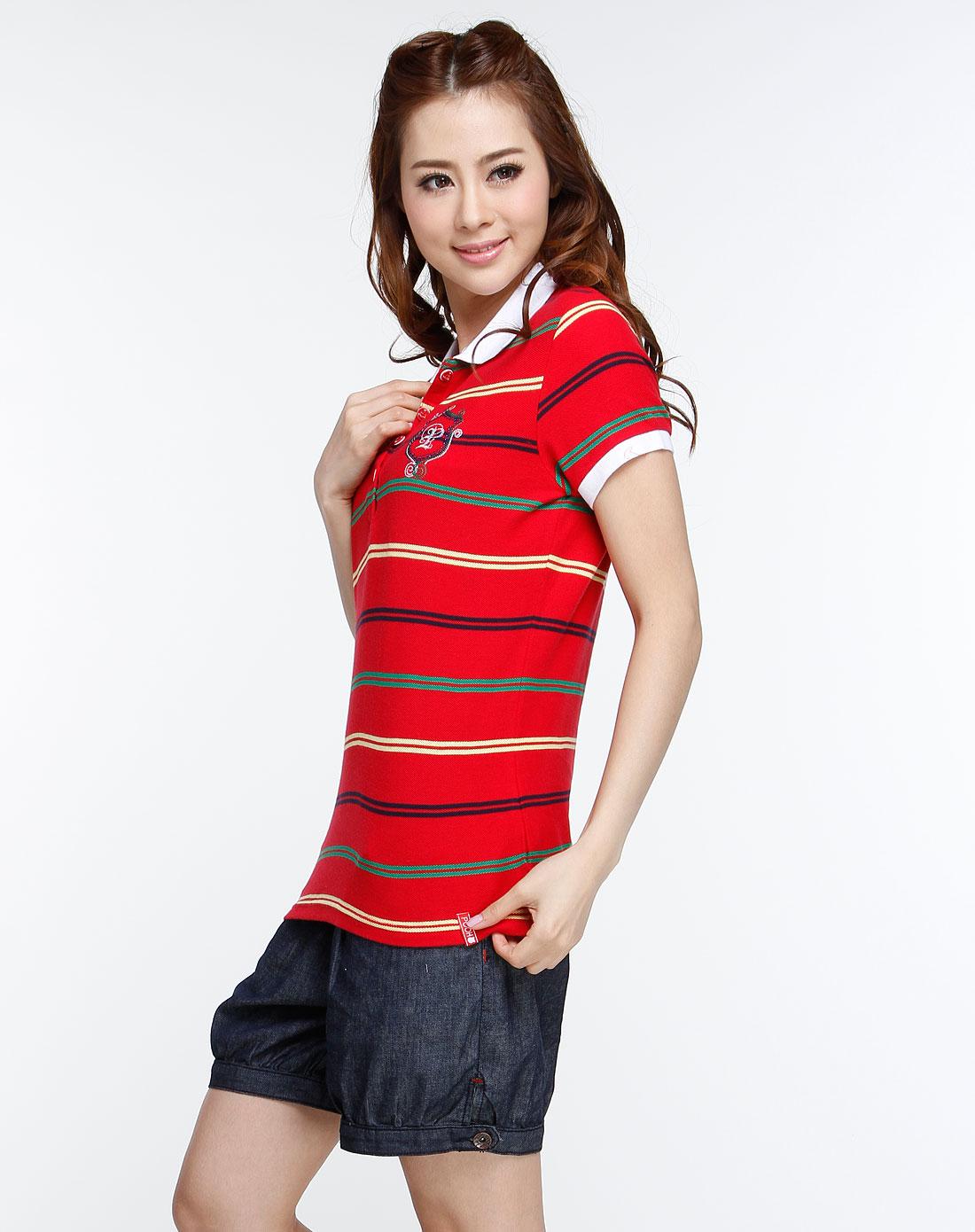 pooh红色时尚条纹针织翻领短袖
