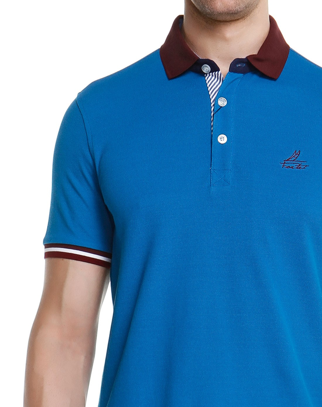 蓝色袖口拼接翻领短袖t恤