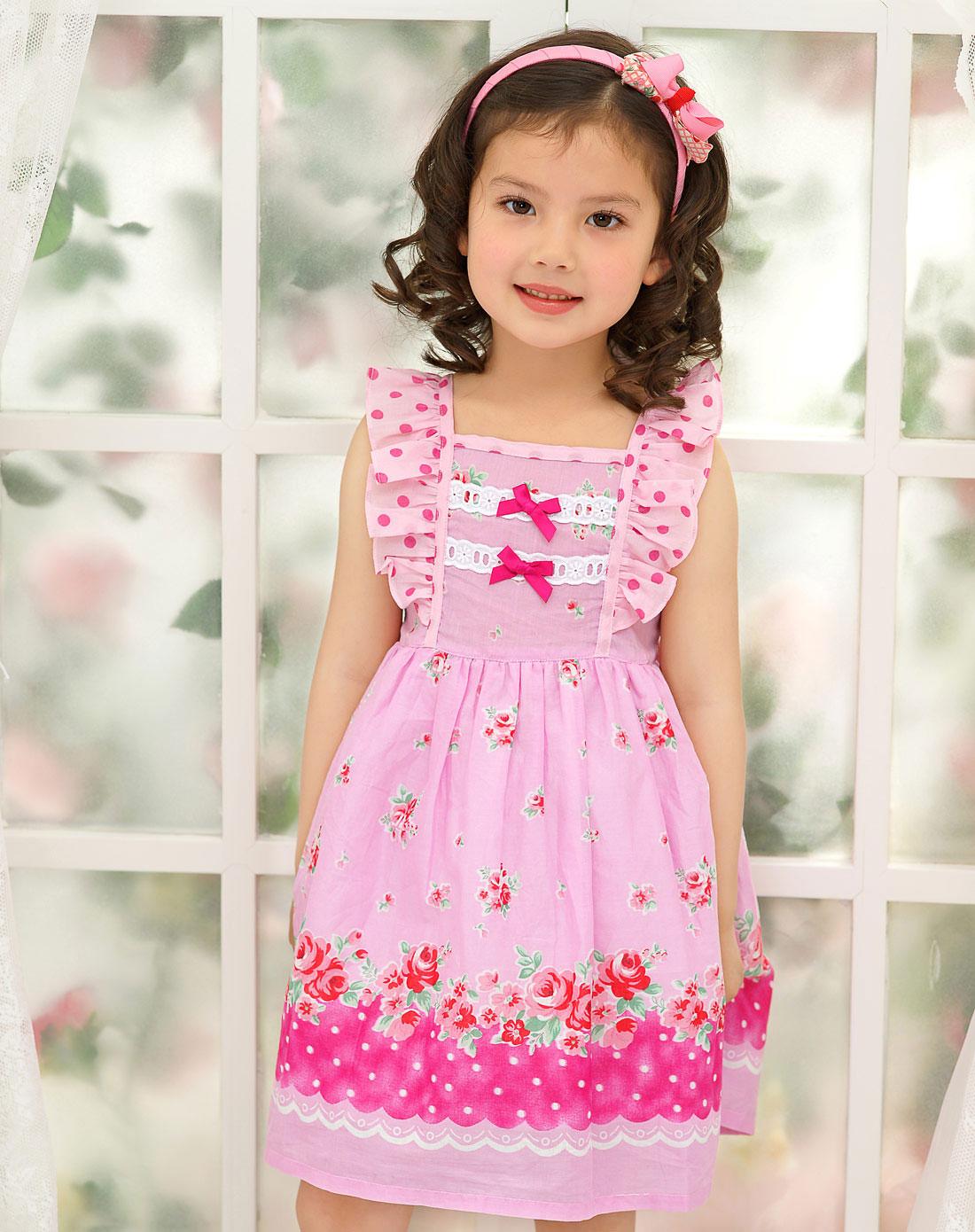 女童粉色宝宝连衣裙背心裙子