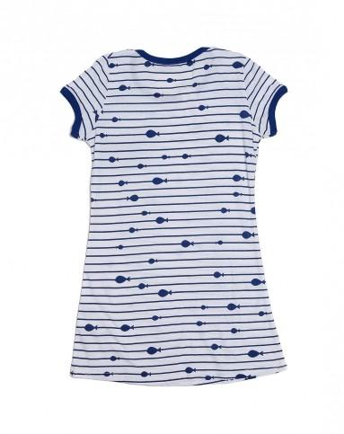 爱慕旗下心爱 女童海洋风蓝白色条纹短袖睡裙
