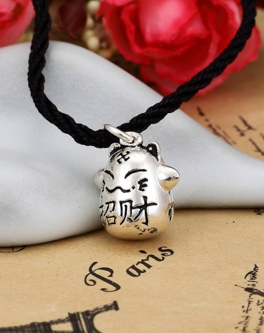 荣庆祥饰品手工泰银镂空铜钱图案可爱招财猫吊坠