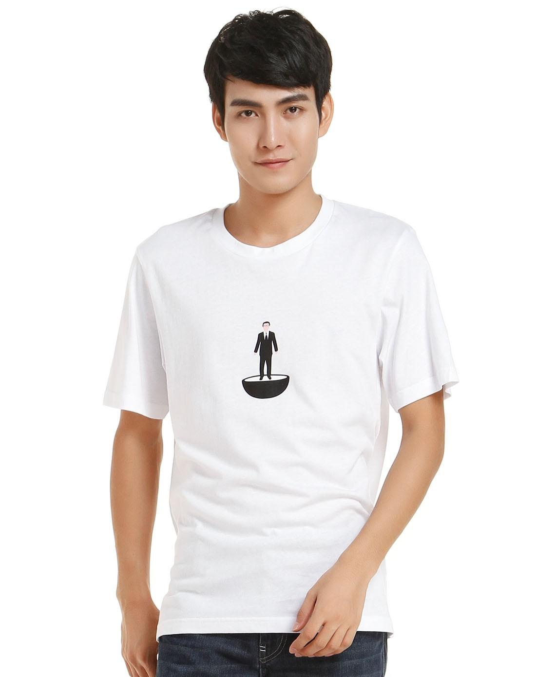 男款卡通人物印花白色短袖t恤